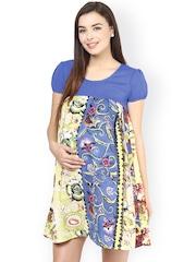 Mine4Nine Blue Floral Print Polyester A-Line Maternity Dress