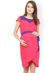 Mine4Nine Pink Georgette A-Line Maternity Dress