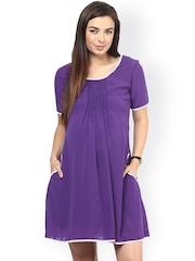 Mine4Nine Purple Georgette Shift Maternity Dress