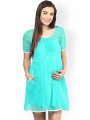 Mine4Nine Aqua Blue Georgette A-Line Maternity Dress