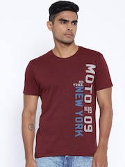 Locomotive Maroon Melange Printed T-shirt