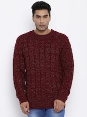 Roadster Men Maroon Self-design Sweater