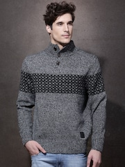 Roadster Men Black High-Neck Sweater