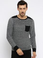 Roadster Men Black Striped Sweater
