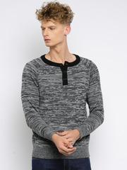 Roadster Men Black & Grey Self-Design Sweater