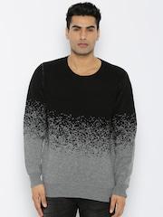 Roadster Men Black Colourblocked Sweater