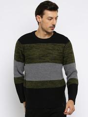 Roadster Men Black & Green Colourblock Sweater
