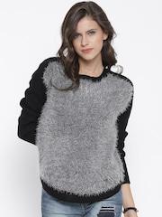Roadster Women Black & Grey Fuzzy Sweater