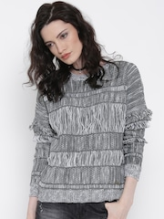Roadster Women Grey & White Patterned Sweater