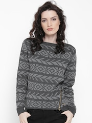 Roadster Women Grey Patterned Sweater