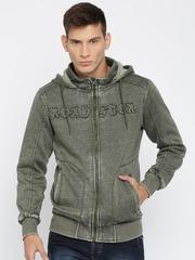RDSTR Olive Green Washed Hooded Sweatshirt