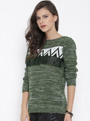 Roadster Women Olive Green Sweater