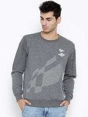 Roadster Grey Melange Printed Sweatshirt