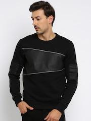 Roadster Men Black Solid Pullover Sweatshirt