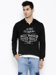 Roadster Black Printed Hooded Sweatshirt