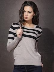 Roadster Women Beige & Black Striped Sweater