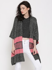 Roadster Charcoal Grey Striped Detail Kaftan Shrug