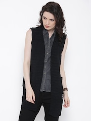 Roadster Black Patterned Shrug