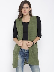Roadster Green Patterned Shrug