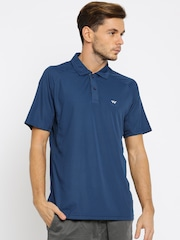 Wildcraft Men Teal Blue Solid Polo T-shirt