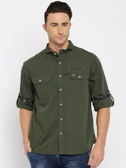 Wildcraft Men Olive Green Regular Fit Solid Casual Shirt