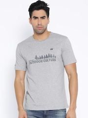 Wildcraft Grey Melange Printed T-shirt