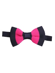 Tossido Black & Pink Knitted Striped Bow Tie