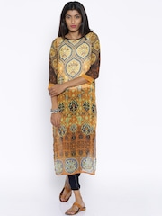Fusion Beats Mustard Yellow Polyester Sheer Printed Kurta