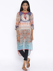 Fusion Beats Multicoloured Polyester Sheer Printed Kurta