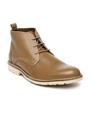 Hush Puppies Men Tan Brown Leather Boots