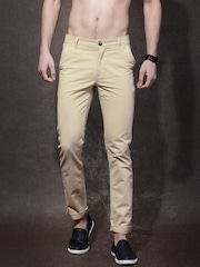 Roadster Men Beige Solid Regular Fit Flat-Front Casual Trousers