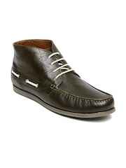 Louis Philippe Men Olive Green Leather Boots