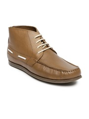 Louis Philippe Men Tan Brown Leather Boots