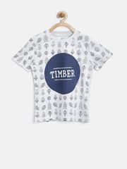 YK Boys Grey Melange Printed T-shirt
