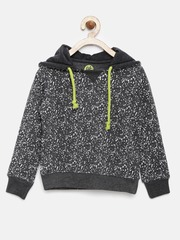 YK Boys Charcoal Grey Printed Hooded Sweatshirt