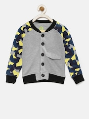 YK Boys Grey & Yellow Printed Sweatshirt