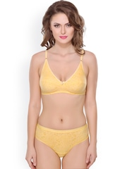 Lady Lyka Yellow Printed Lingerie Set