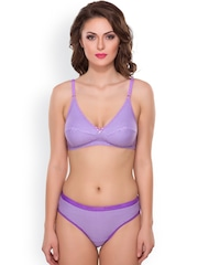 Lady Lyka Purple Checked Lingerie Set