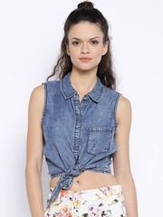 ONLY Blue Washed Denim Crop Shirt
