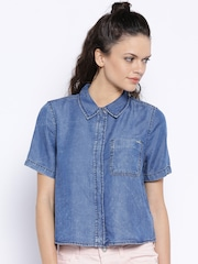 ONLY Blue Washed Denim Shirt