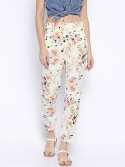 ONLY Cream-Coloured Floral Print Original Slim Trousers
