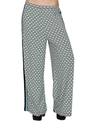 109F Navy & Off-White Polyester Printed Palazzo Trousers