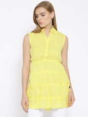 109F Yellow Polyester Panelled Tunic