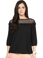 109F Black Sheer Yoke Top