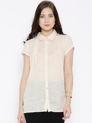 109F Cream-Coloured Sheer Patterned Shirt
