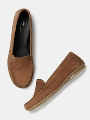 Mast & Harbour Women Brown Leather Loafers