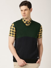 ETHER Green & Navy Coloublock Sleeveless Sweater
