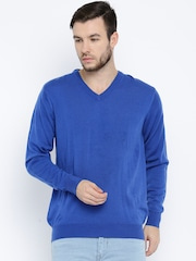 ether Men Blue Solid Sweater