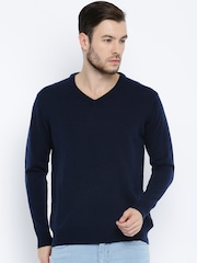 ether Men Navy Blue Solid Sweater