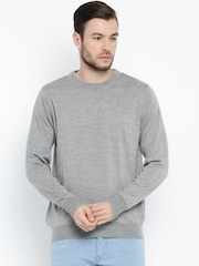 ether Men Grey Solid Sweater